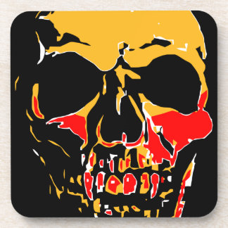 YELLOW AND RED SKULL BEVERAGE COASTERS