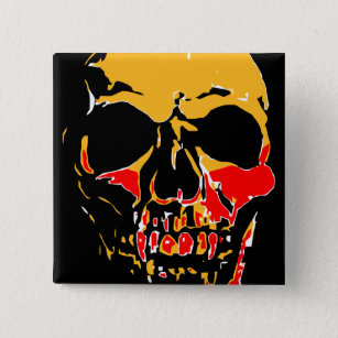 YELLOW AND RED SKULL BUTTON
