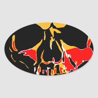 YELLOW AND RED SKULL OVAL STICKER