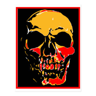 YELLOW AND RED SKULL POST CARDS