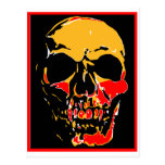 YELLOW AND RED SKULL POSTCARD