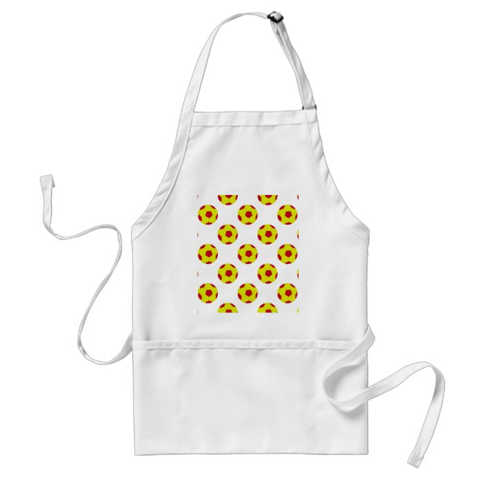 Yellow and Red Soccer Ball Pattern Adult Apron
