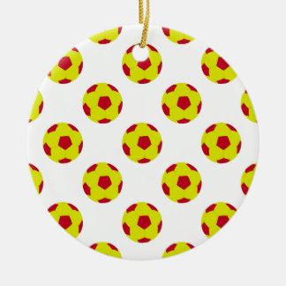 Yellow and Red Soccer Ball Pattern Ceramic Ornament