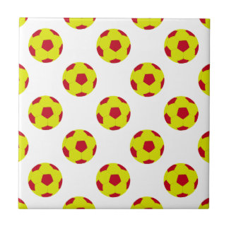 Yellow and Red Soccer Ball Pattern Ceramic Tile