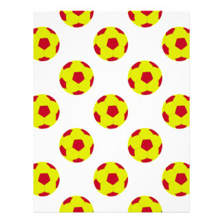 Yellow and Red Soccer Ball Pattern Letterhead