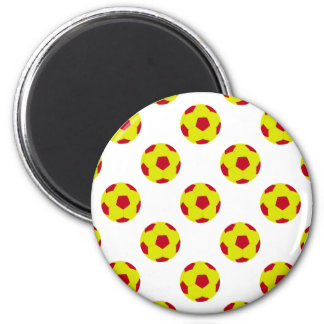 Yellow and Red Soccer Ball Pattern Refrigerator Magnets