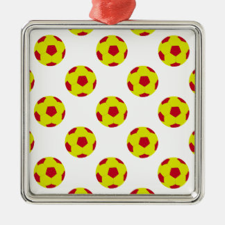 Yellow and Red Soccer Ball Pattern Metal Ornament