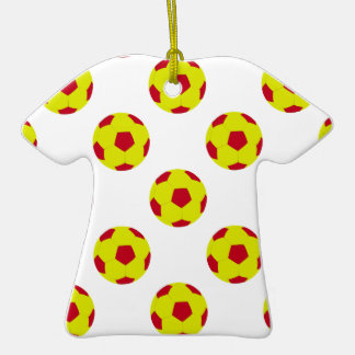 Yellow and Red Soccer Ball Pattern Ornament