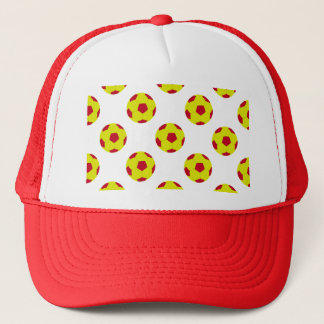 Yellow and Red Soccer Ball Pattern Trucker Hat