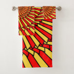 [ Thumbnail: Yellow and Red Spiral Pattern Towel Set ]