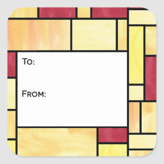 Yellow and Red Stained Glass Gift Tag Stickers