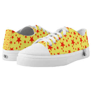 Yellow and Red Stars Printed Shoes