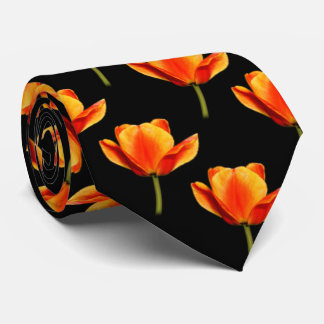 Yellow-and-Red Streaked Tulips Neck Tie