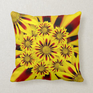 Yellow and Red Striped Flower Collage Throw Pillow