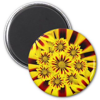 Yellow and Red Striped Gerbera Daisy Sunflower 2 Inch Round Magnet