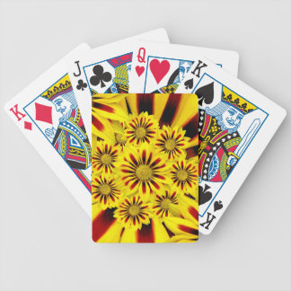 Yellow and Red Striped Gerbera Daisy Sunflower Bicycle Playing Cards