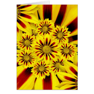 Yellow and Red Striped Gerbera Daisy Sunflower Greeting Card