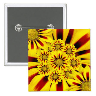 Yellow and Red Striped Gerbera Daisy Sunflower Pinback Button