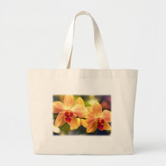 Yellow and Red Striped Phalaenopsis Large Tote Bag