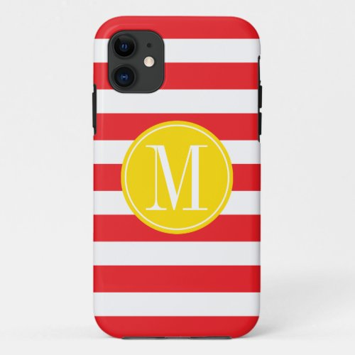 Yellow and Red Stripes Custom Monogram Phone Case