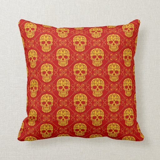 Yellow and Red Sugar Skull Pattern Throw Pillow Zazzle