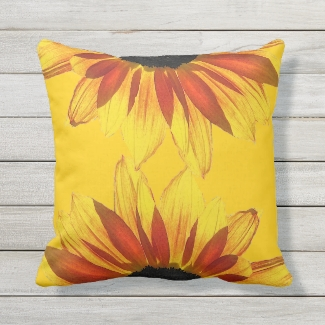 Yellow and Red Sunflower Floral Outdoor Pillow