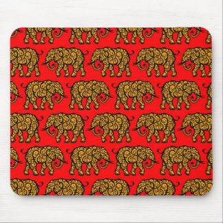 Yellow and Red Swirling Elephant Pattern Mousepad