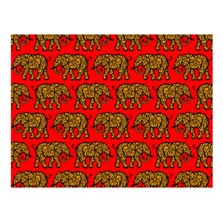 Yellow and Red Swirling Elephant Pattern Postcard