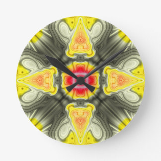Yellow And Red Symmetrical Design Round Wallclock