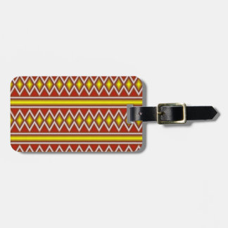 Yellow and red tribal pattern luggage tag