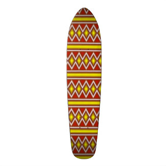 Yellow and red tribal pattern skateboard