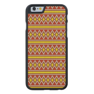 Yellow and red tribal pattern carved® maple iPhone 6 slim case