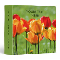 Yellow And Red Tulips 3 Ring Binder