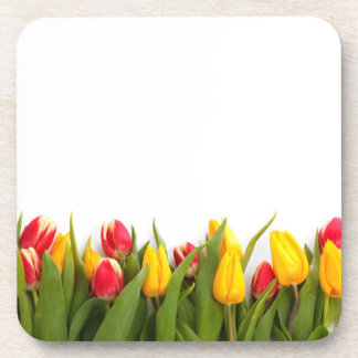 Yellow and Red Tulips Drink Coaster
