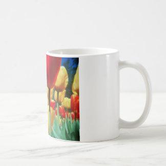 yellow and red tulips mugs