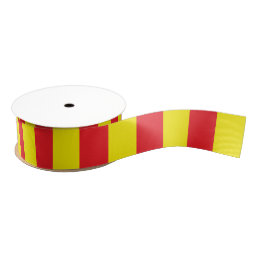 Yellow and Red Vertical Stripes Grosgrain Ribbon