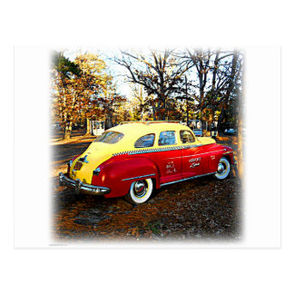 Yellow and Red Vintage Airport Limo Postcard