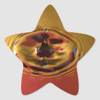 Yellow and Red Water Drop Star Sticker