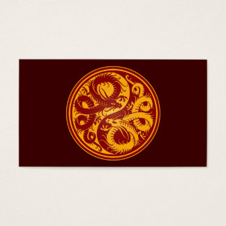 Yellow and Red Yin Yang Chinese Dragons Business Card