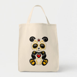 Yellow and Red Zombie Sugar Panda Bear Tote Bag