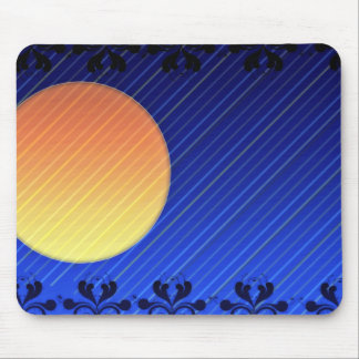 Yellow and Reddish moon on striped pattern Mouse Pad