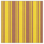 [ Thumbnail: Yellow and Sienna Striped/Lined Pattern Fabric ]