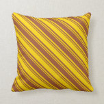 [ Thumbnail: Yellow and Sienna Striped/Lined Pattern Pillow ]