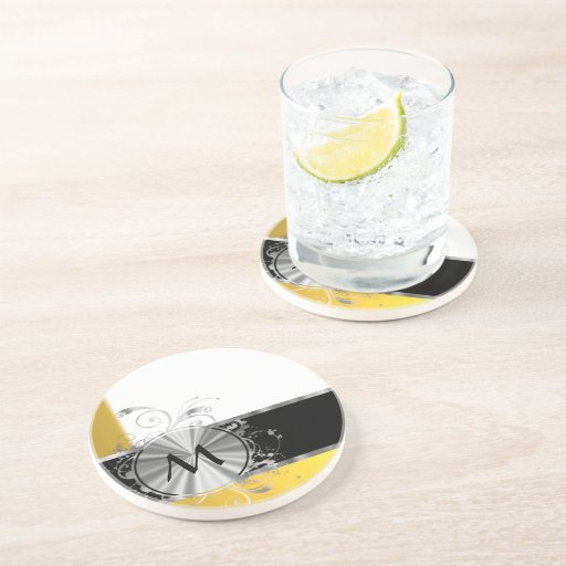 Yellow and silver monogram drink coaster zazzle - Stone coasters for drinks ...