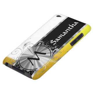 Yellow and silver monogram iPod Case-Mate cases