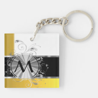 Yellow and silver monogram keychain