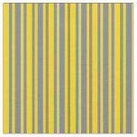 [ Thumbnail: Yellow and Slate Gray Colored Stripes Fabric ]
