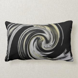 Yellow and Soft Gray Smokey Swirl Black Lumbar Pillow
