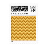 Yellow and Tan Zigzag Stripes. Postage Stamp