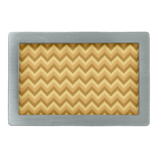 Yellow and Tan Zigzag Stripes. Rectangular Belt Buckles